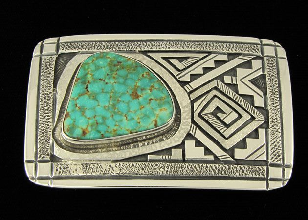 732c1bbb7 Peter Nelson. Men's belt buckle with heirloom turquoise. | Native ...