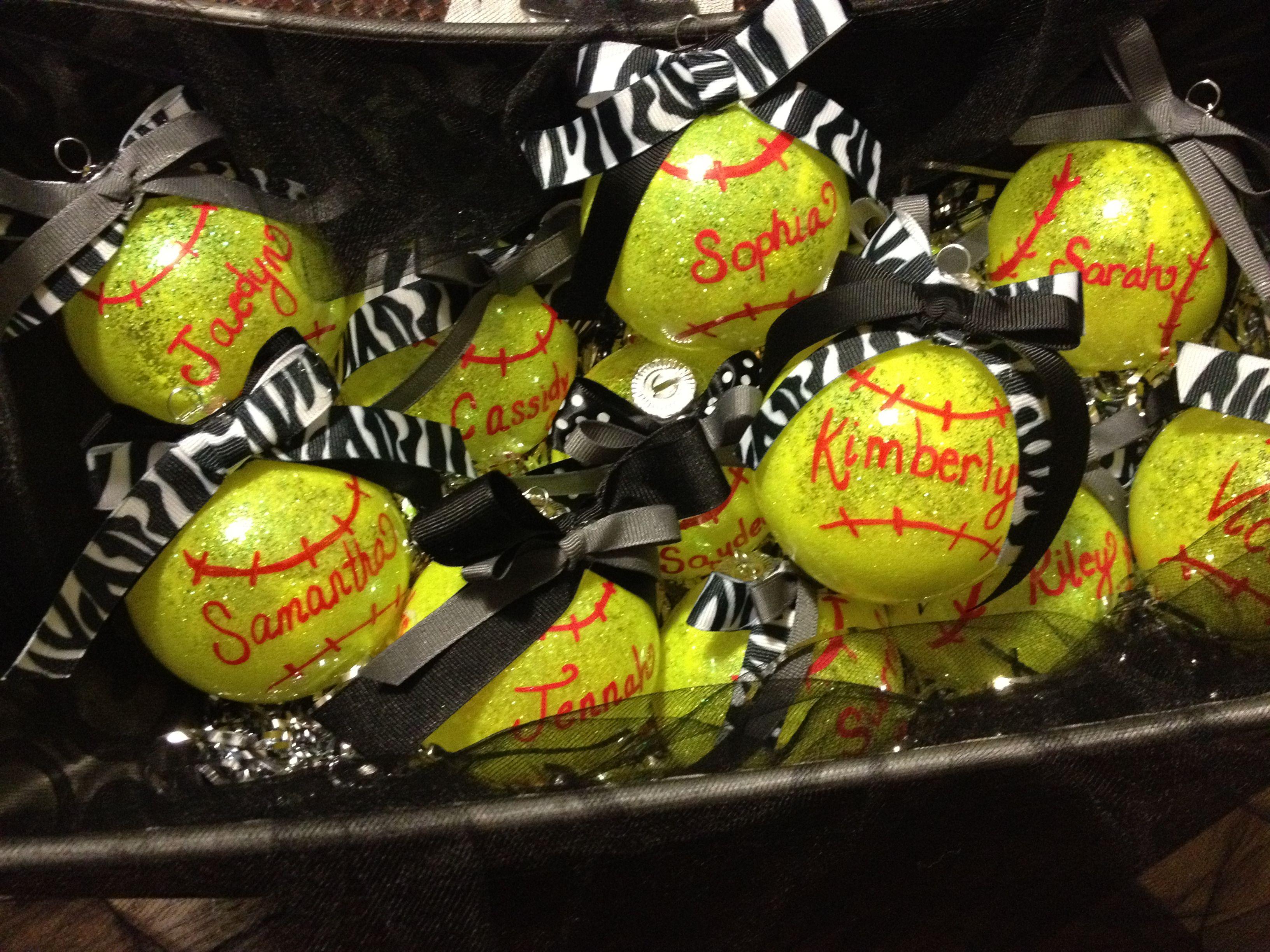 softball ornaments for end of fall ball season Softball