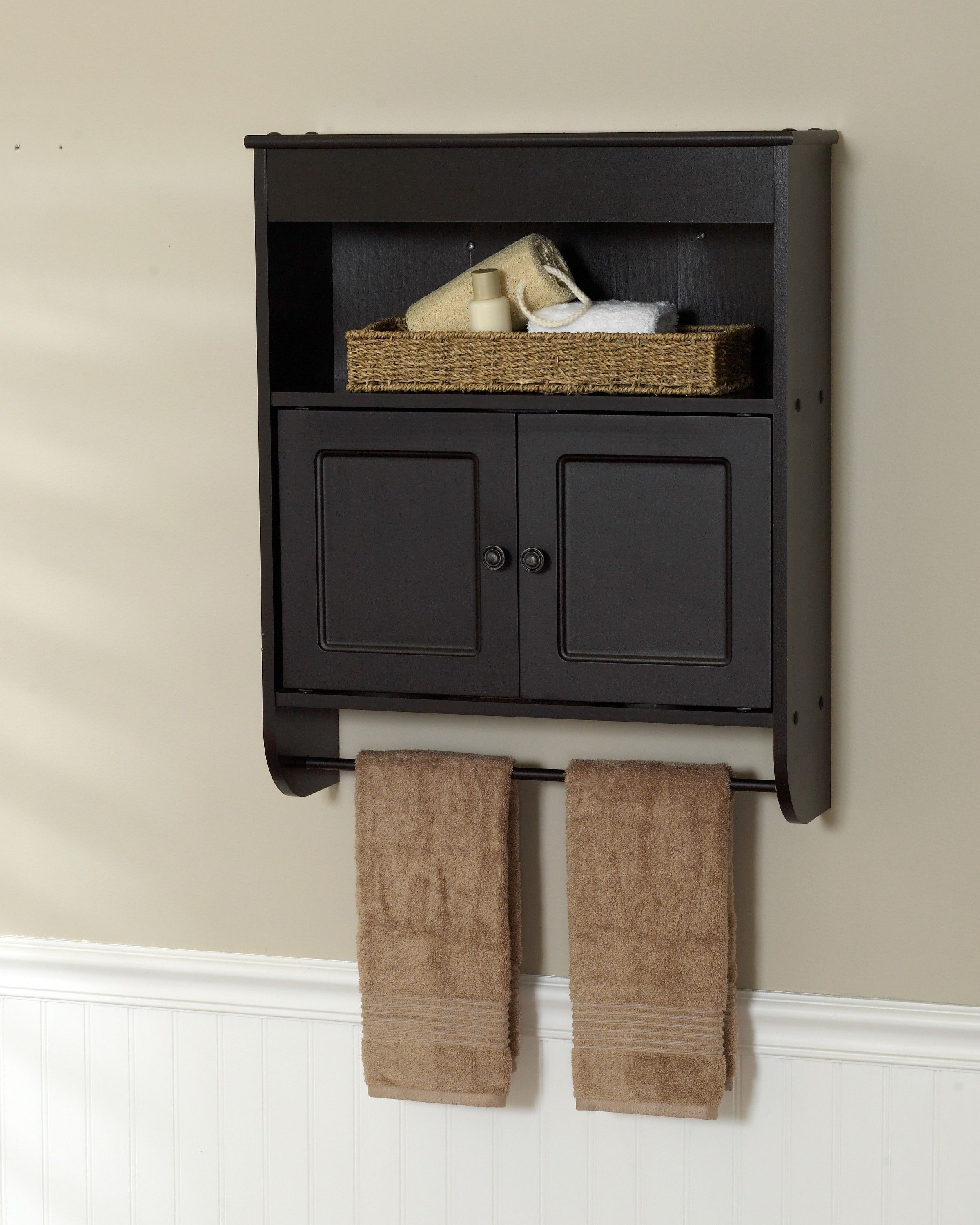 Espresso Cabinet With Towel Bar Zenith Home Corp ZPC - Towel storage shelves for small bathroom ideas