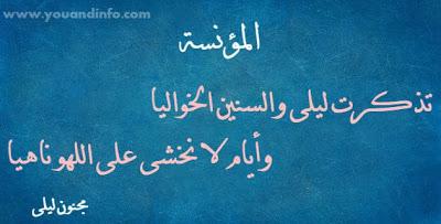 قصيدة تذكرت ليلى والسنين الخواليا وأيام لا نخشى على اللهو ناهيا مجنون ليلى قيس بن الملوح Poetry Calligraphy Arabic Calligraphy