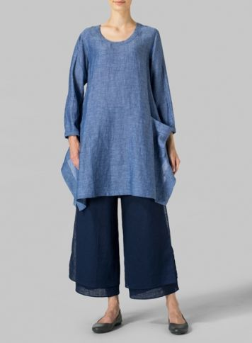 Azure Blue Linen Long Sleeve Top Set