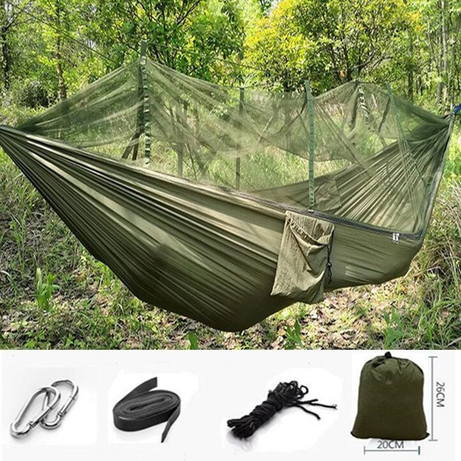 Camp Sleeping Gear Yingtouman Sleeping Bed Parachute Nylon Outdoor Camping Hammocks Portable Hammock Swing Bed With Mosquito Net Sleeping Hammock