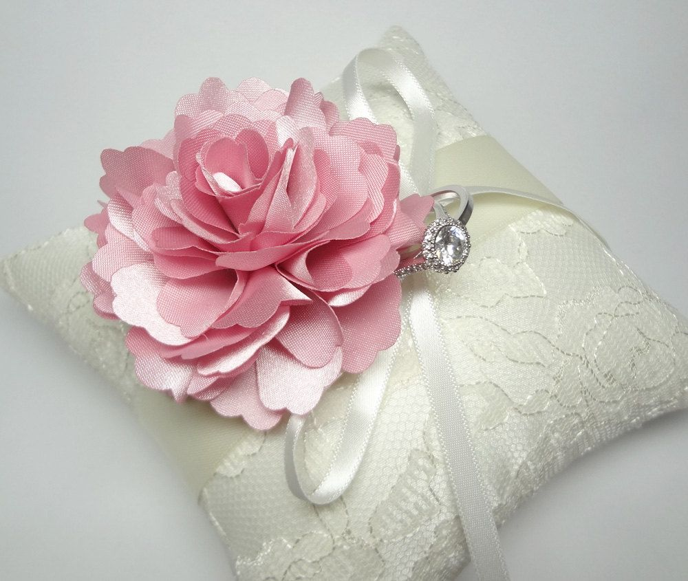Lovely wedding ring pillow Indian Pink Bloom on Cream lace Ring ...