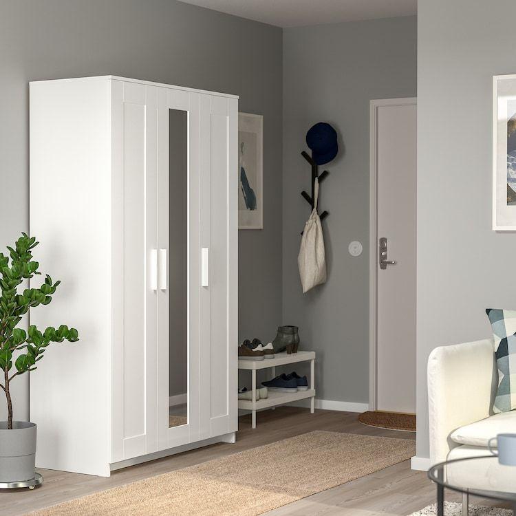 BRIMNES Wardrobe with 3 doors, white, 46×74 3/4″ – IKEA