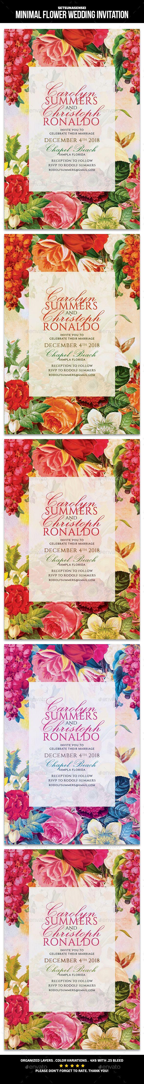 Wedding decorations beach december 2018 Minimal Flower Wedding Invitation  Invitations Cards u Invites
