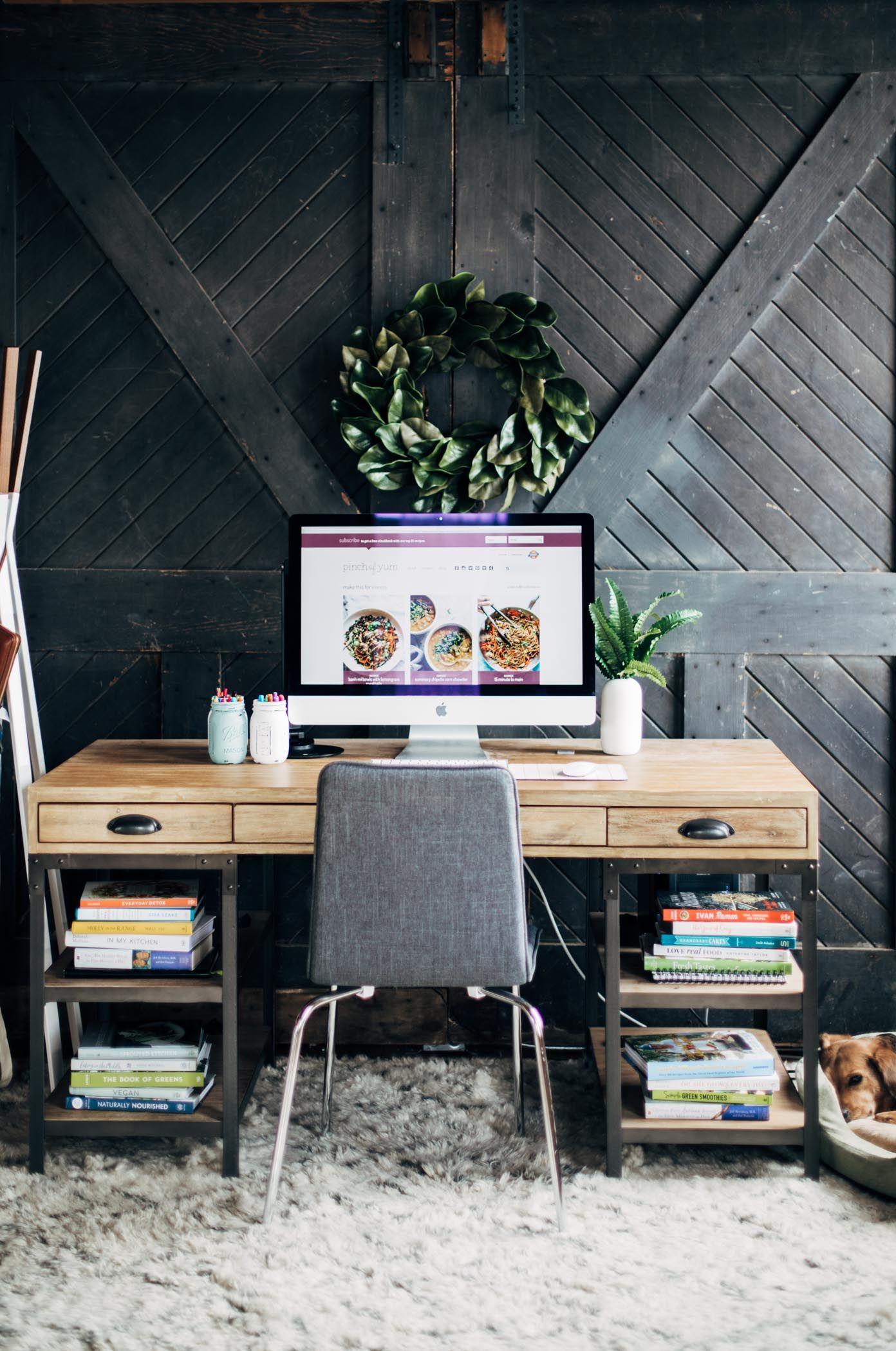 industrial modern office. Home Sweet Studio: An Industrial Modern Office And Studio Makeover | Pinchofyum.com H