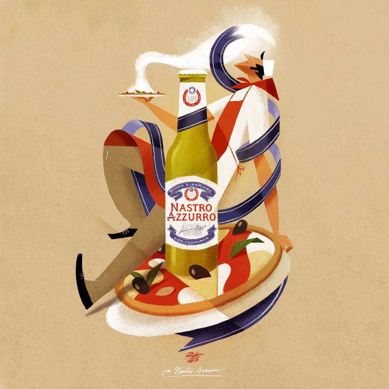 Top collection for Nastro Azzurro Peroni | Illustrator: Riccardo Guasco | riccardoguasco.com