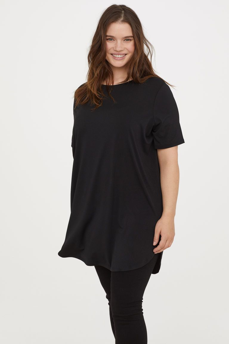 H&M H&M+ Short-sleeved Tunic - Black | want in 2019 | Tunic ...