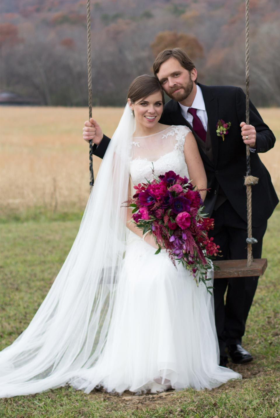 Gorgeous fall wedding with long veil and cascading bouquet bridal