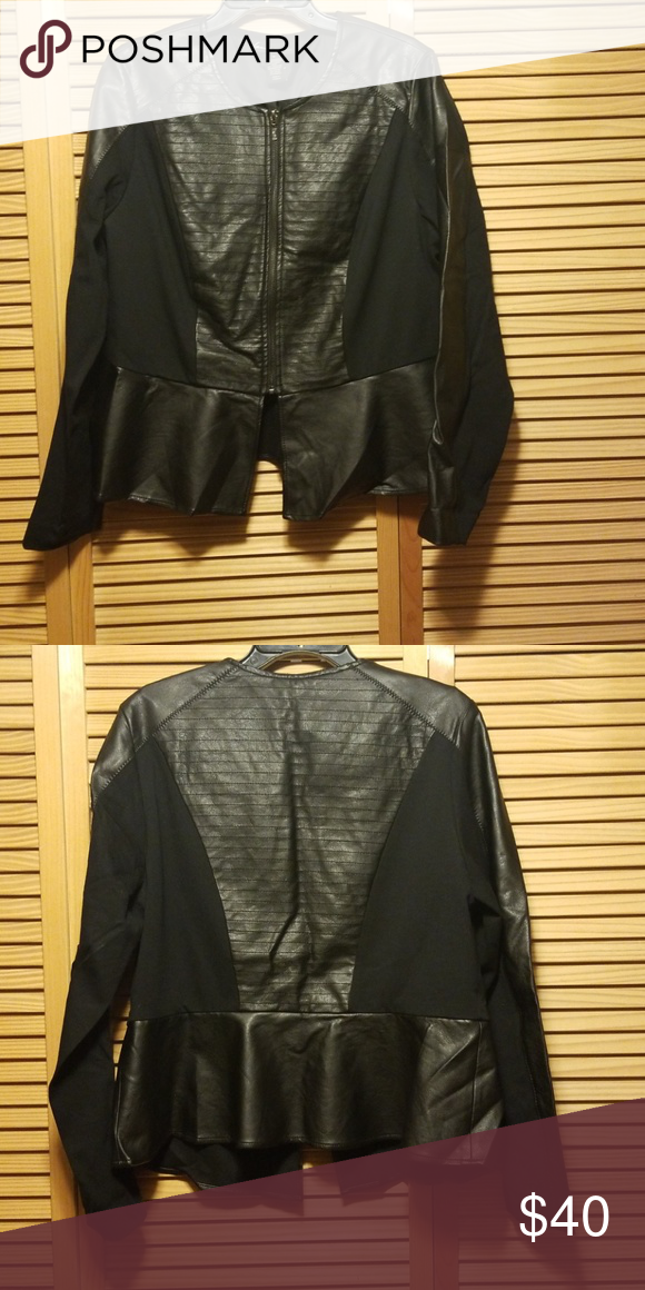 d6483705b1d Lane Bryant faux leather and ponte peplum jacket Lane Bryant faux leather  and ponte peplum jacket