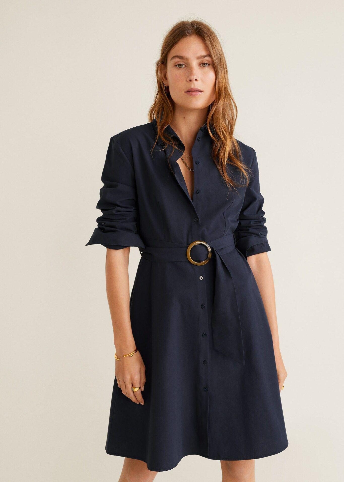 Skjortekjole med belte Damer   Mango Norge   Skjortekjole