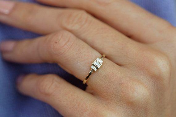 Baguette Diamond Engagement Ring Diamond Art Deco Engagement Etsy Baguette Diamond Rings Art Deco Engagement Ring Yellow Gold Baguette Engagement Ring