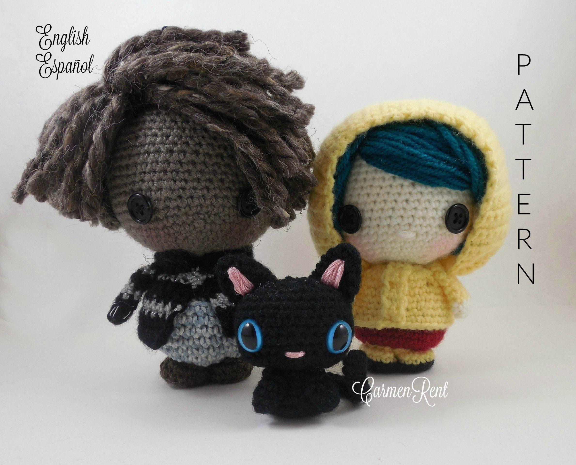 Wybie 7 Coraline 6 And Cat 3 1 2 Chibi Etsy In 2021 Amigurumi Doll Crochet Patterns Coraline