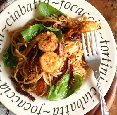 Cherry on a cake noodles with prawns and sun dried tomatoes food this dish is like a book with three main characters all equally important interesting and with personality forumfinder Choice Image