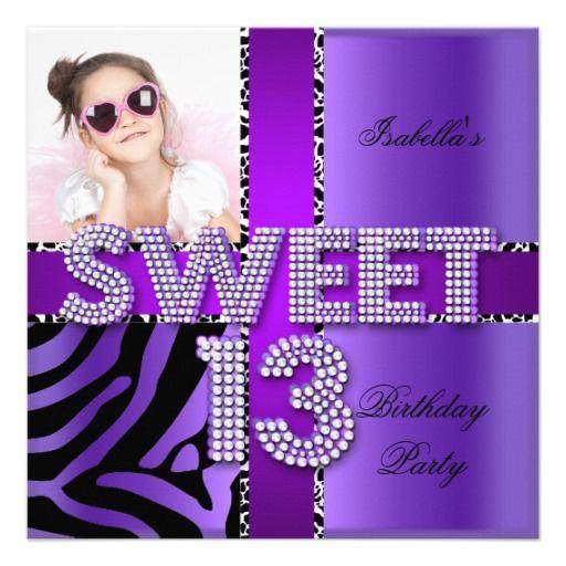 Sweet 13 13th Birthday Zebra Cow Purple Black Invitation