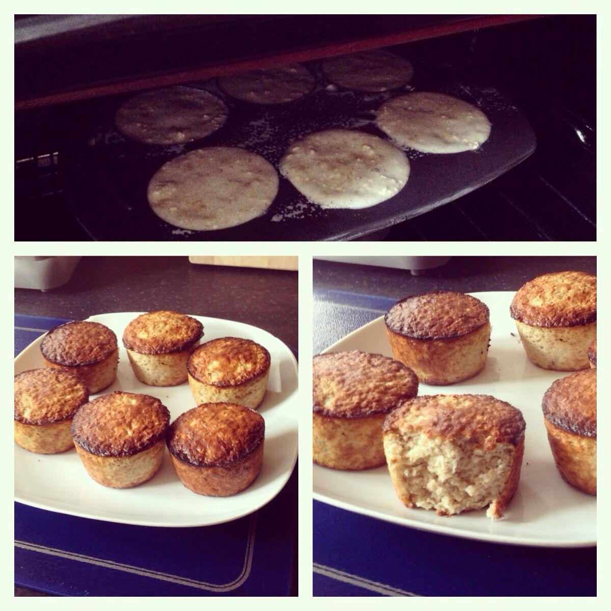 Banana flapjack style slimming world muffins 140g oats 3 eggs 2 mushed bananas Sweetener Nutmeg ...