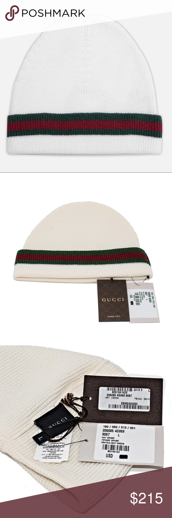 37e38ed0 NEW GUCCI WOOL AND SILK HAT CROOK BEANIE Authentic. Made in Italy. Item  number