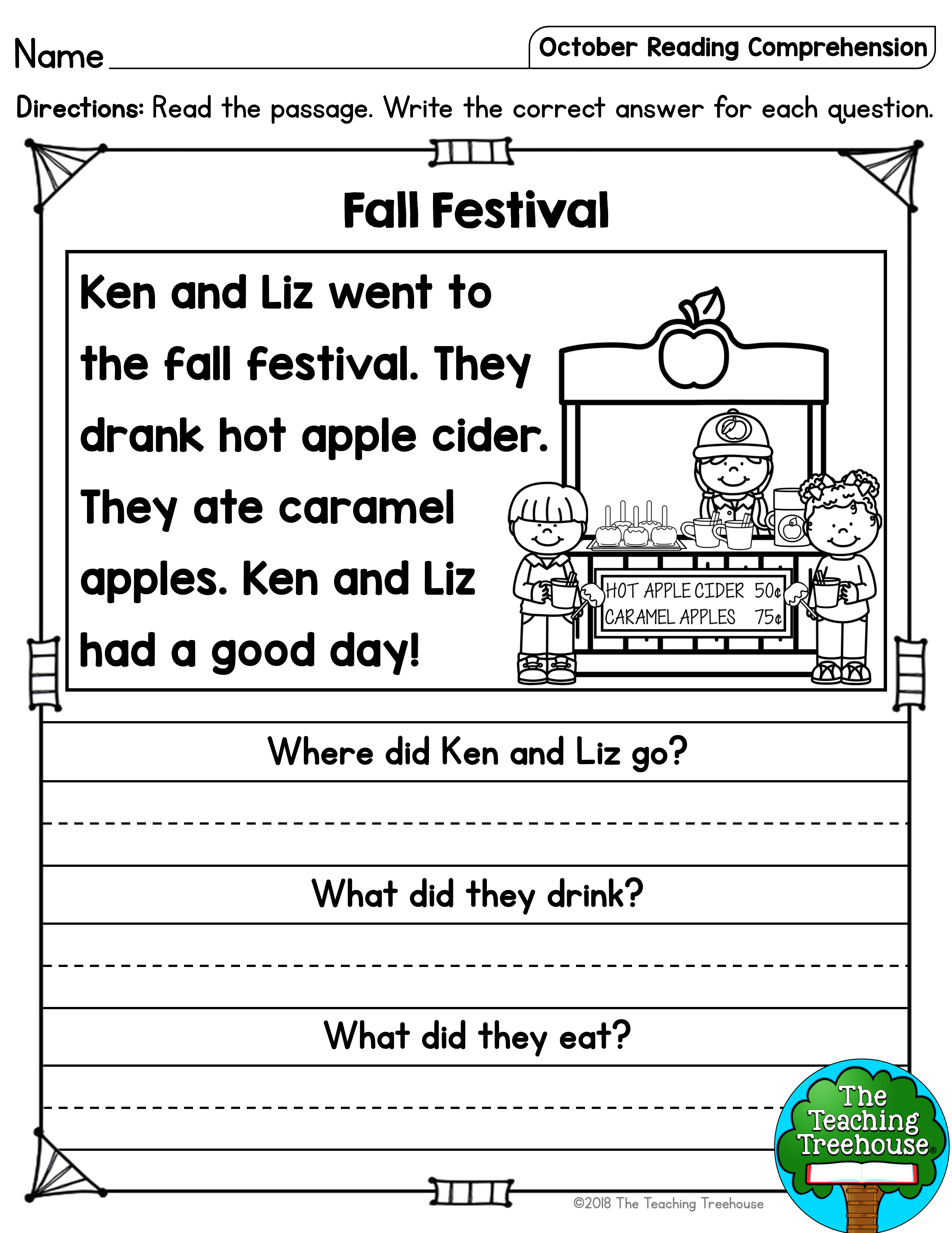 - October Reading Comprehension Passages For Kindergarten And First
