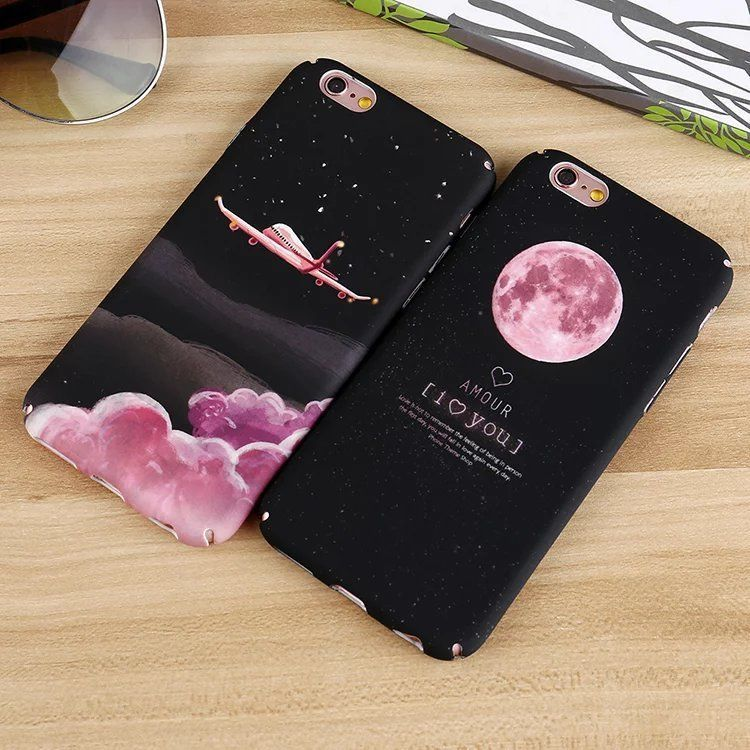 Hard Matte Cases Cool Galaxy Moon Plane Design Phone Covers For Iphone 7 6s Plus