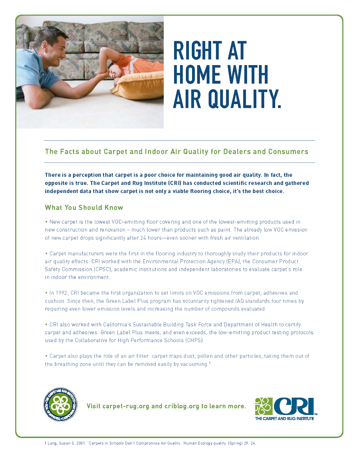 The Carpet And Rug Institute Blog: Need to Know: Indoor Air Quality and Carpet
