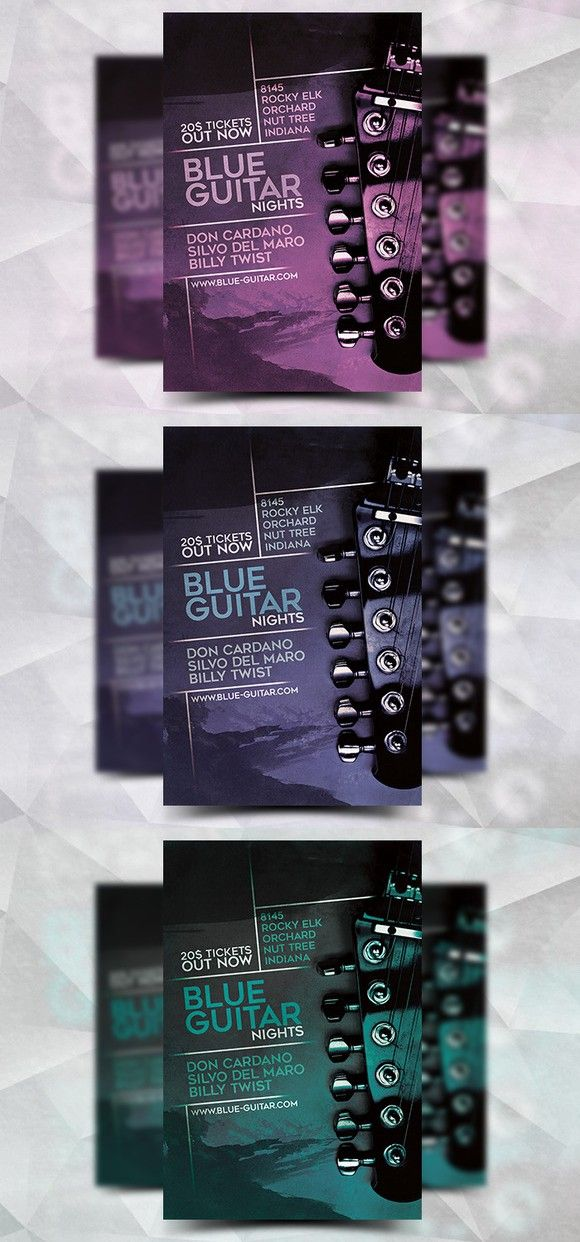 Blue Guitar  Flyer Template Flyer Templates   Flyer