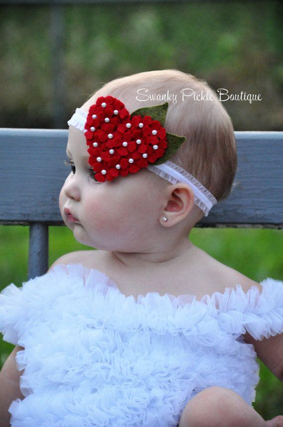 Pink Heart Headband Wool Felt Flower por SwankyPickleBoutique #feltflowerheadbands