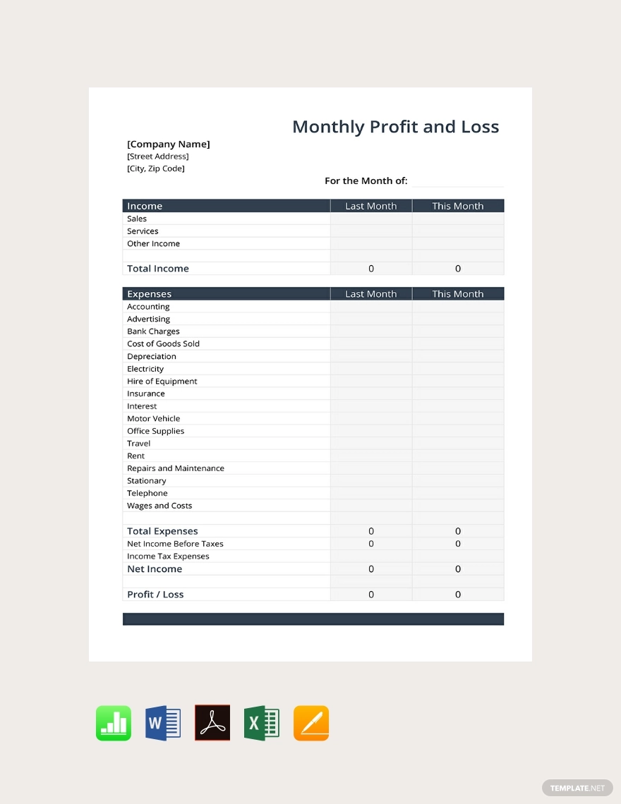 Free Monthly Profit And Loss Template Pdf Word Doc Excel Indesign Apple Mac Pages Apple Numb Profit And Loss Statement Words Statement Template