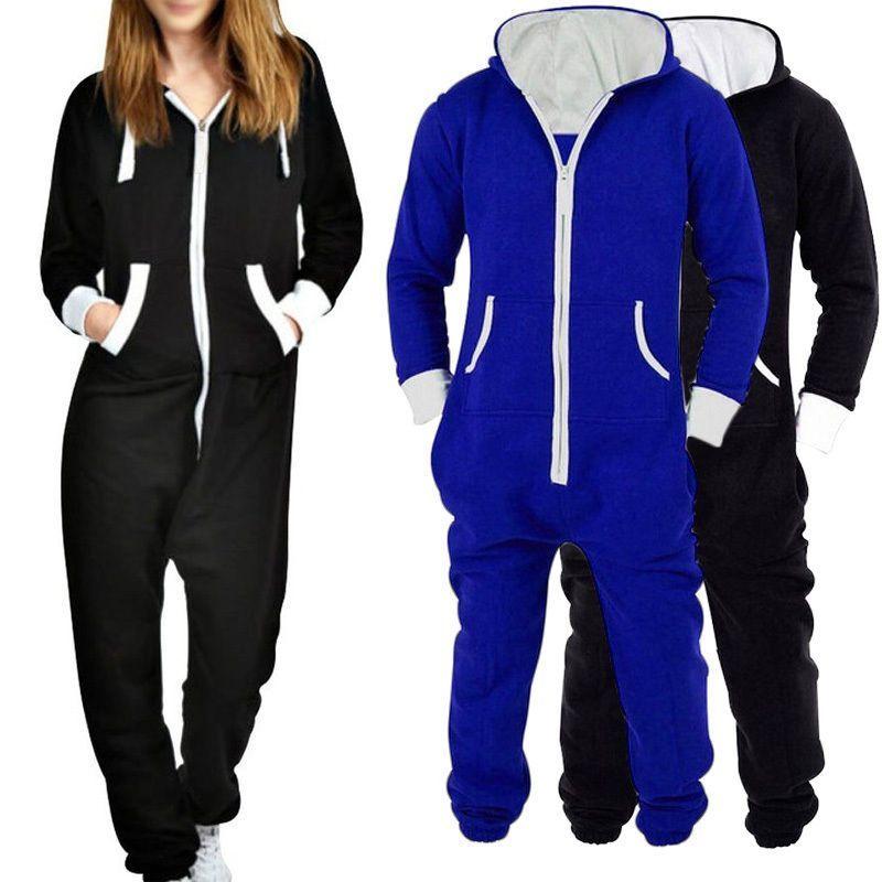 4fc79c0727d2b Womens Mens Ladies Hooded Playsuit Zip Adult Plain Jumpsuit All In One Piece