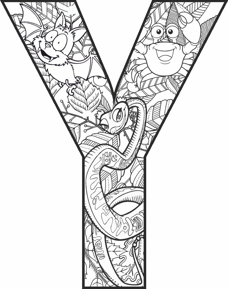 Y Harfi Mandala çalışması Harf Mandala Alphabet Coloring