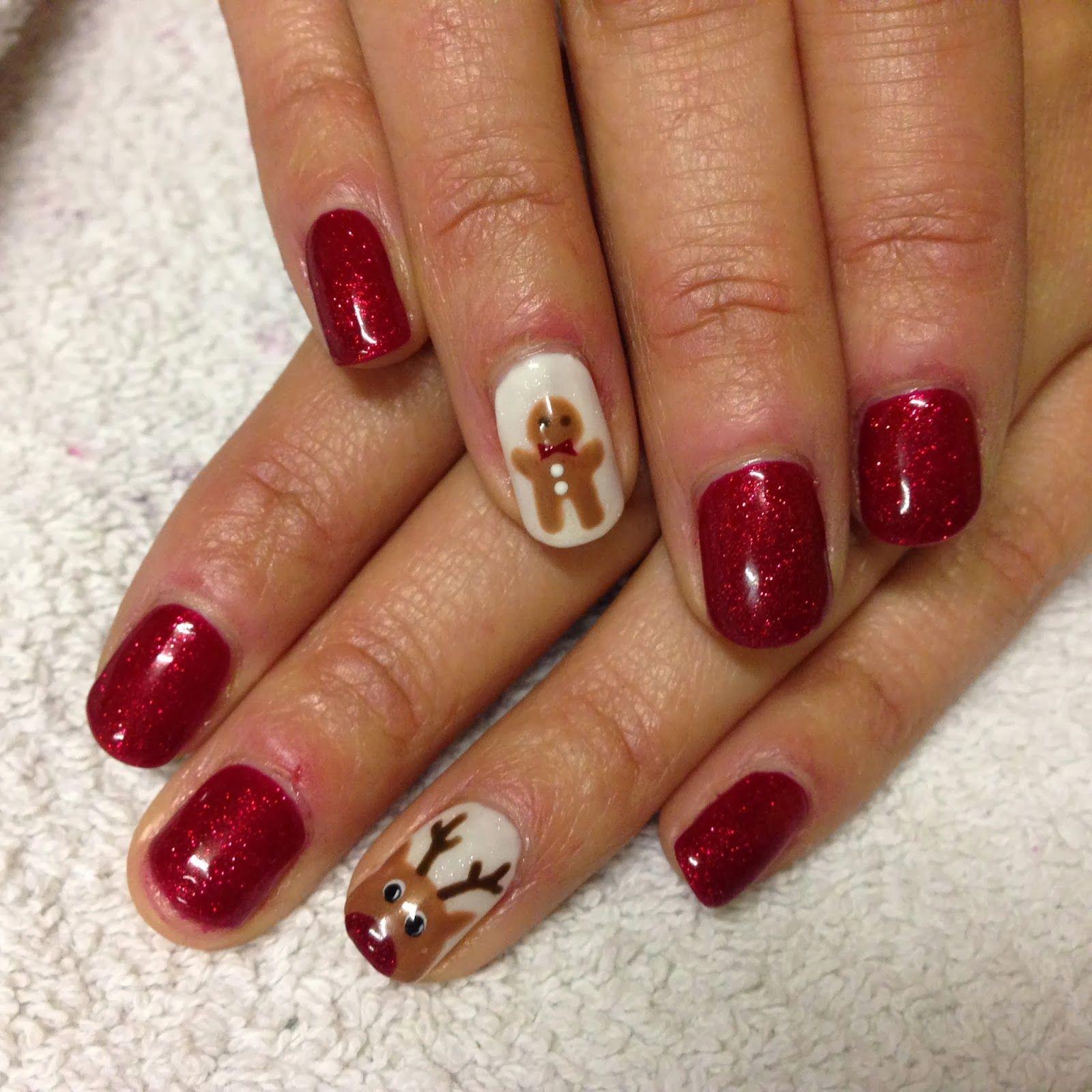 Cnd Shellac Christmas Nail Art 8 Rudolph And Gingerbread Men Nail Art Videos Cute Christmas Nails Nail Art Designs Videos