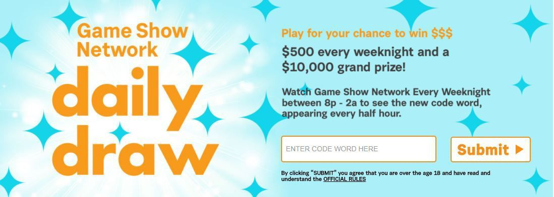 GSN TV Sweepstakes Code Word: available for GSNTV Game Show