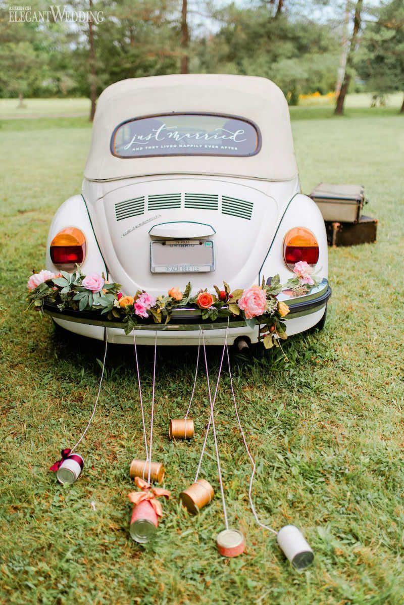 just married wedding car greenery wedding car decor