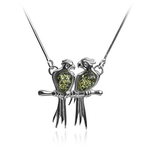 Sterling Silver Green Amber Love Birds Necklace 18 Inches *** Click image for more details.