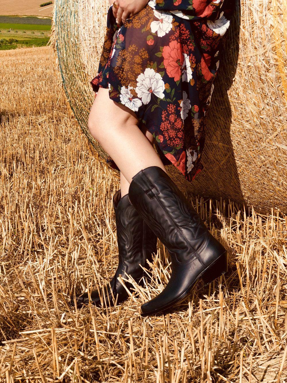 Texani Donna Neri Cowboys Pelle Nabuk Vintage Made in Italy