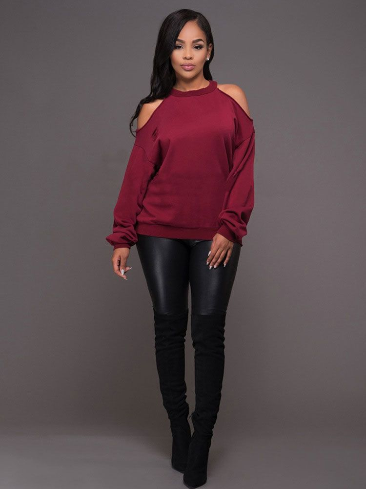 397c315711dc0c Ladies Casual Loose Cut Out Tops Womens Halter Open Cold Shoulder Long  Sleeve Blouse
