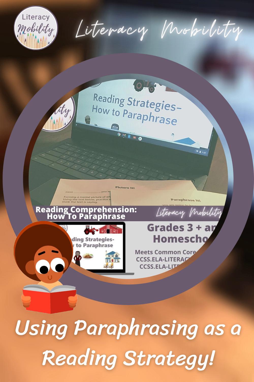 Paraphrasing Reading Comprehension Strategie For U Video In 2021 Language Art Activitie Middle School Elementary Strategies Literacy Standard