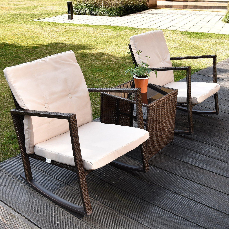 3 Piece Outdoor Patio Furniture Set Rattan Rocking Wicker Chairs