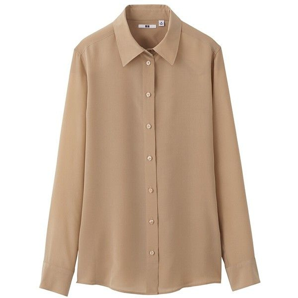 UNIQLO Women Silk Long Sleeve Blouse ($50) ❤ liked on Polyvore featuring tops, blouses, shirts, long sleeves, uniqlo, long sleeve blouse, beige top, silk shirt and shirts & tops
