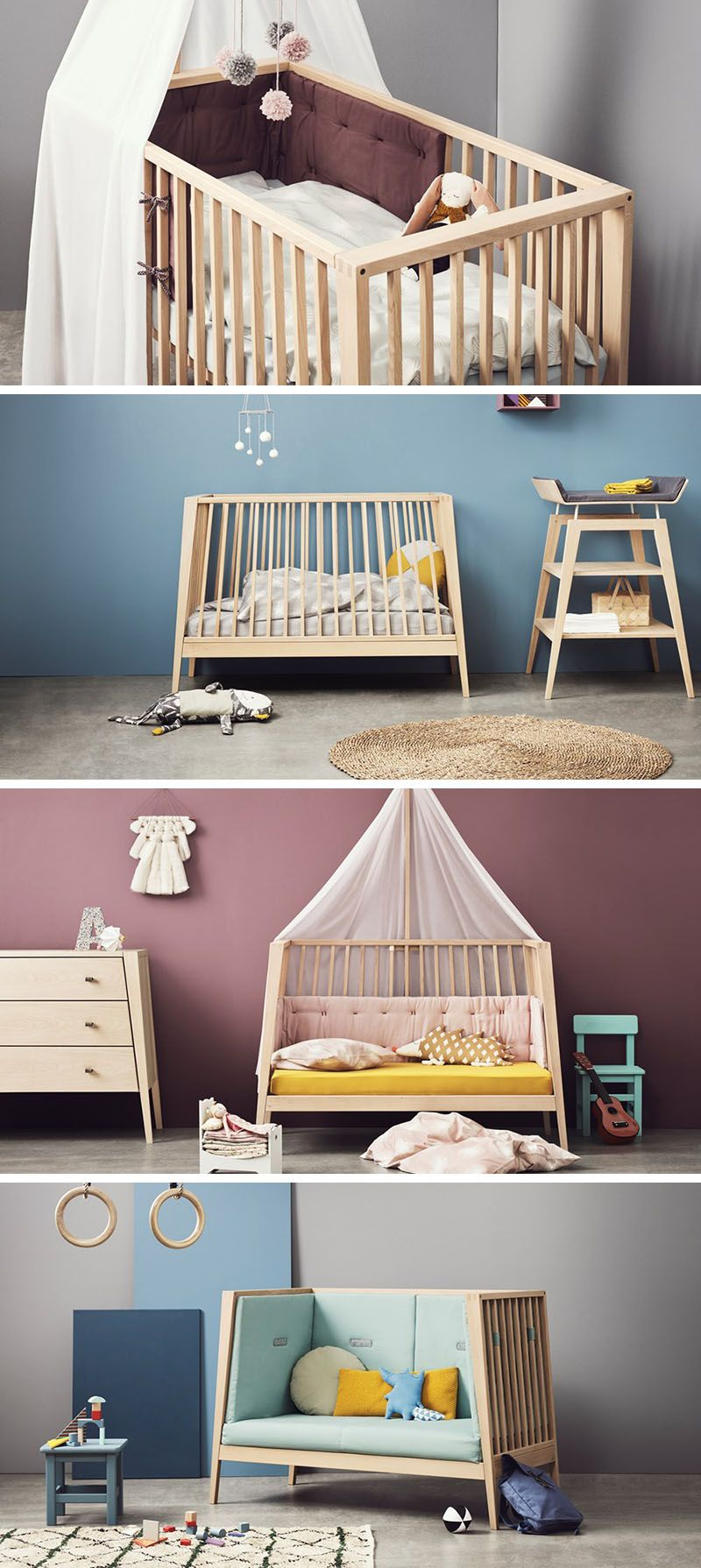 This transitional modern nursery furniture is baby cot that transforms into a small day bed or couch as the child grows