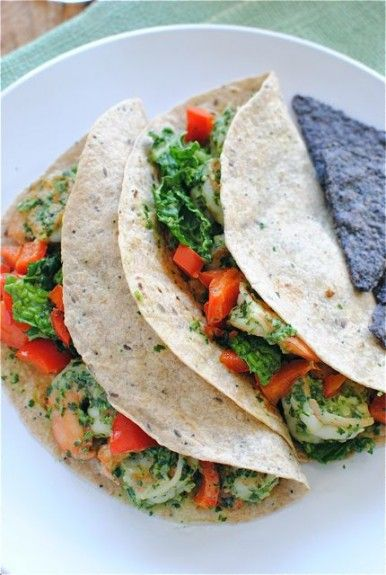 Shrimp and cabbage tacos with cilantro yogurt sauce