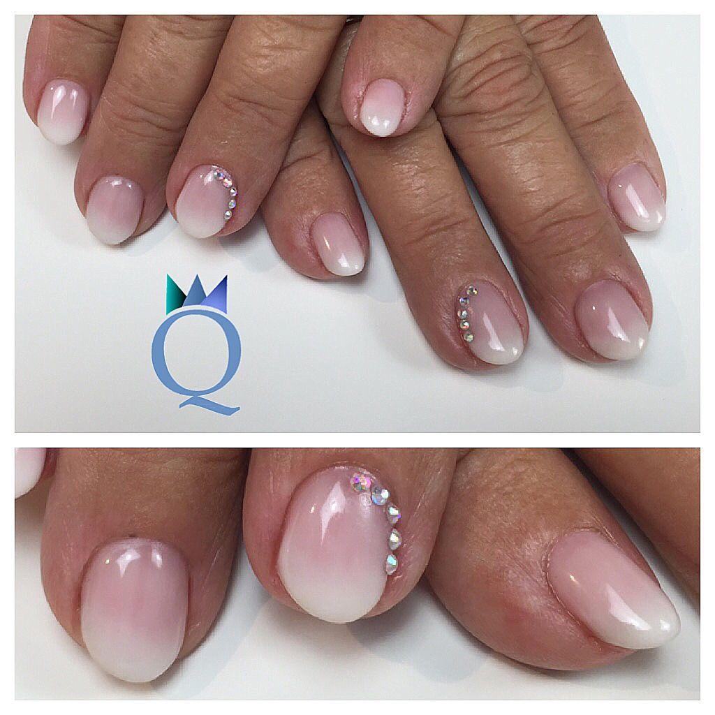 shortnails #nails #gelnails #faded #french #rainbowstones ...