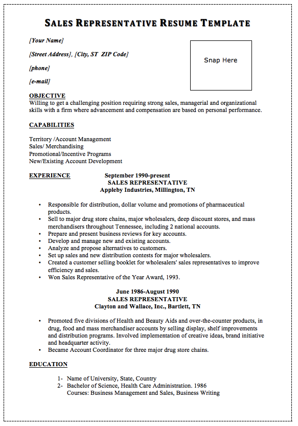 sales representative resume template snap here macrobutton