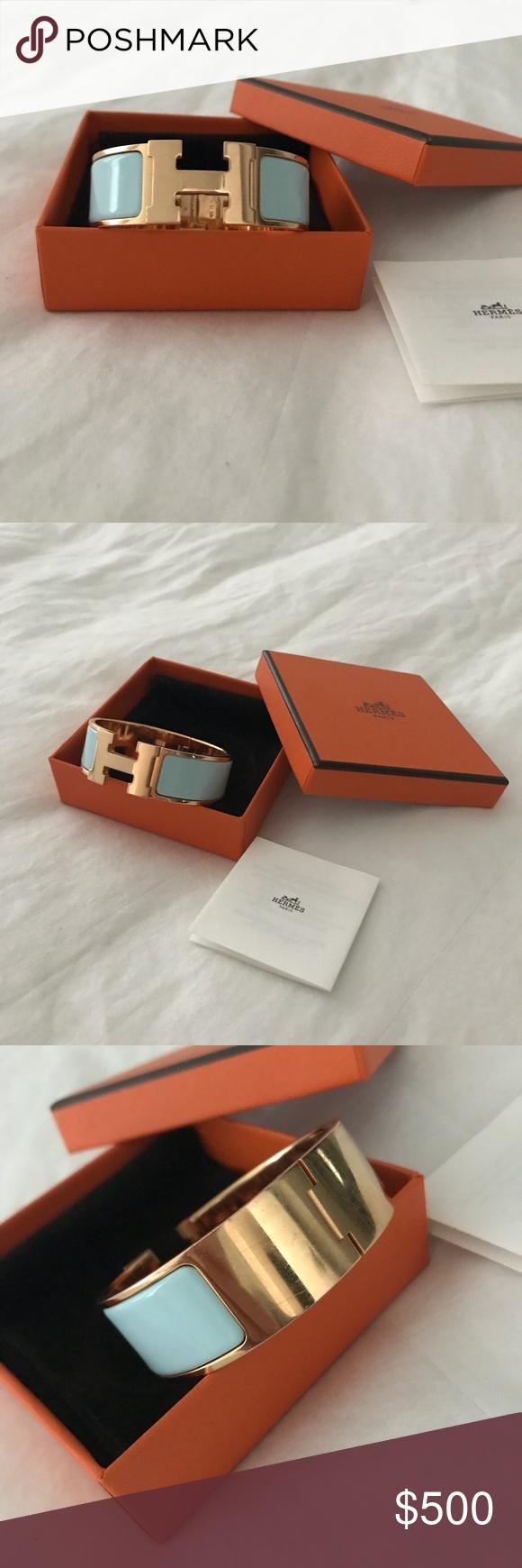 Hermès clic clac le bracelet h rose gold u blue authentic hermès