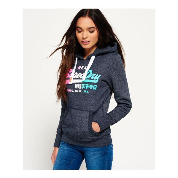 Superdry Vintage Logo Side Fade Hoodie 55 Liked On Polyvore Featuring Tops Hoodies Navy Na Sweatshirts Hoodie Vintage Hoodies Women Hoodies Sweatshirts