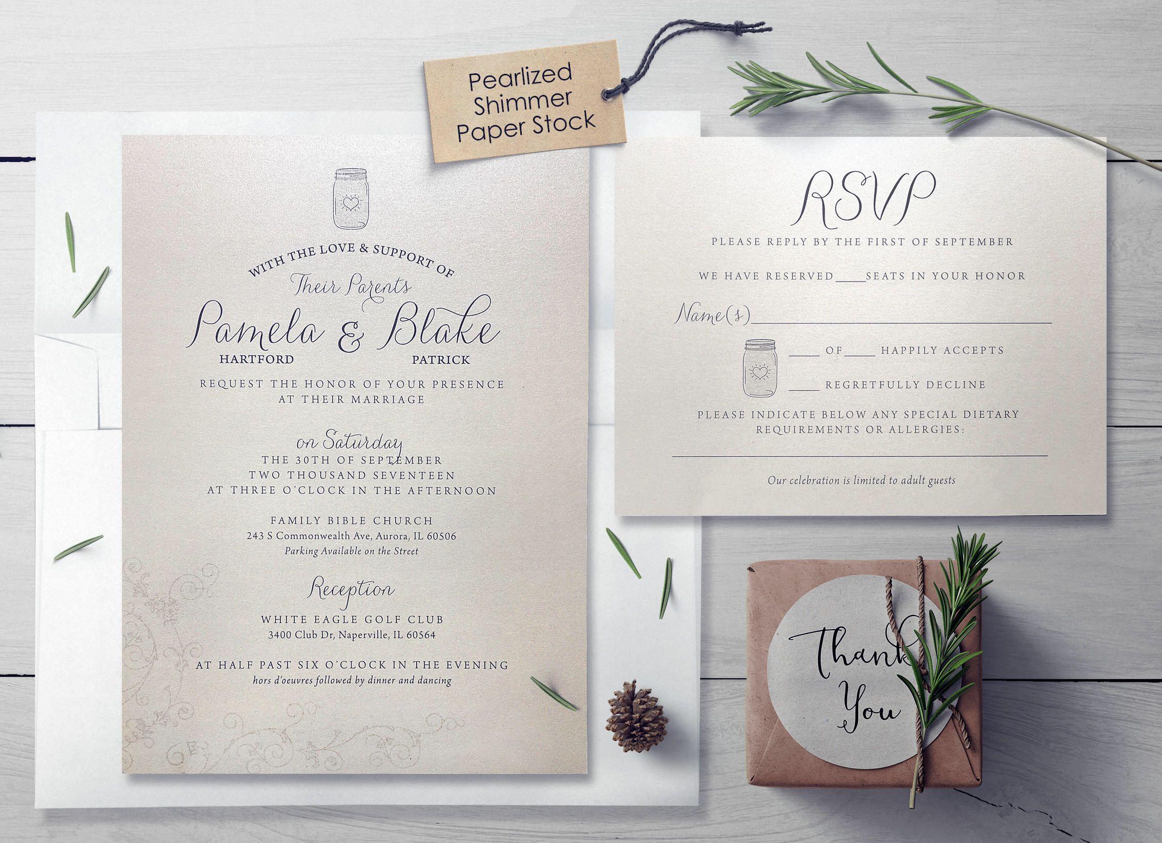 Simple Mason Jar Wedding Invitation Set Elegant