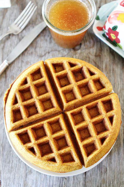 Brown Butter Pumpkin Waffle Recipe on twopeasandtheirpod.com #recipe