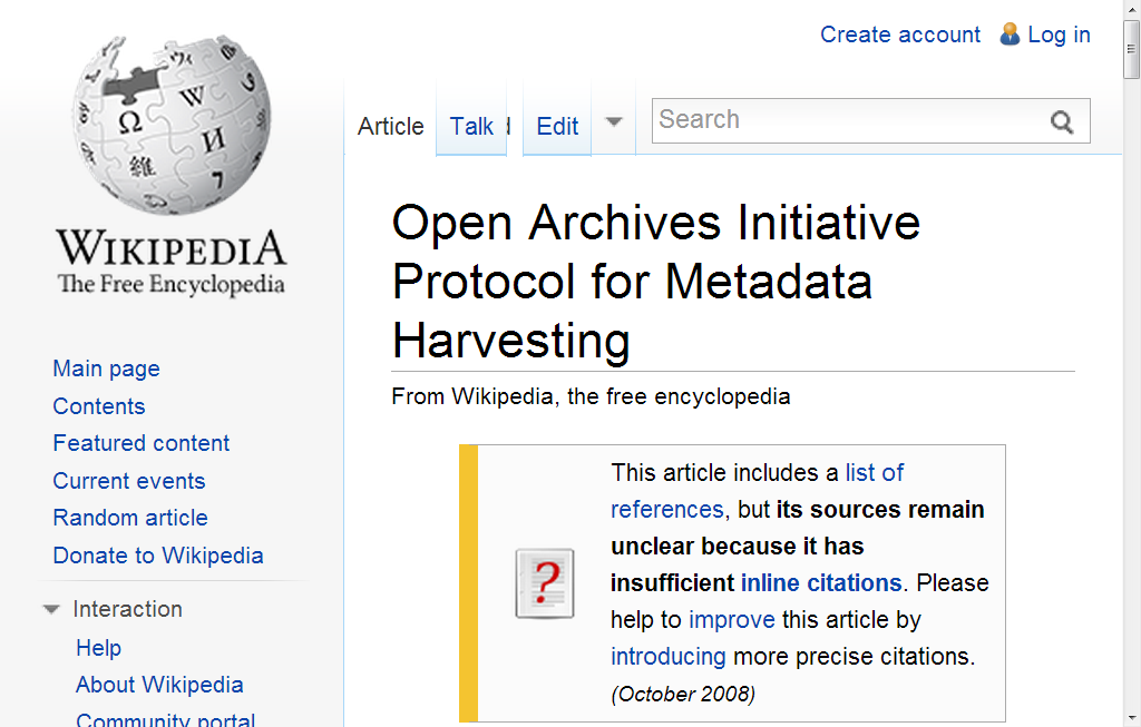Open Archives Initiative Protocol for Metadata Harvesting