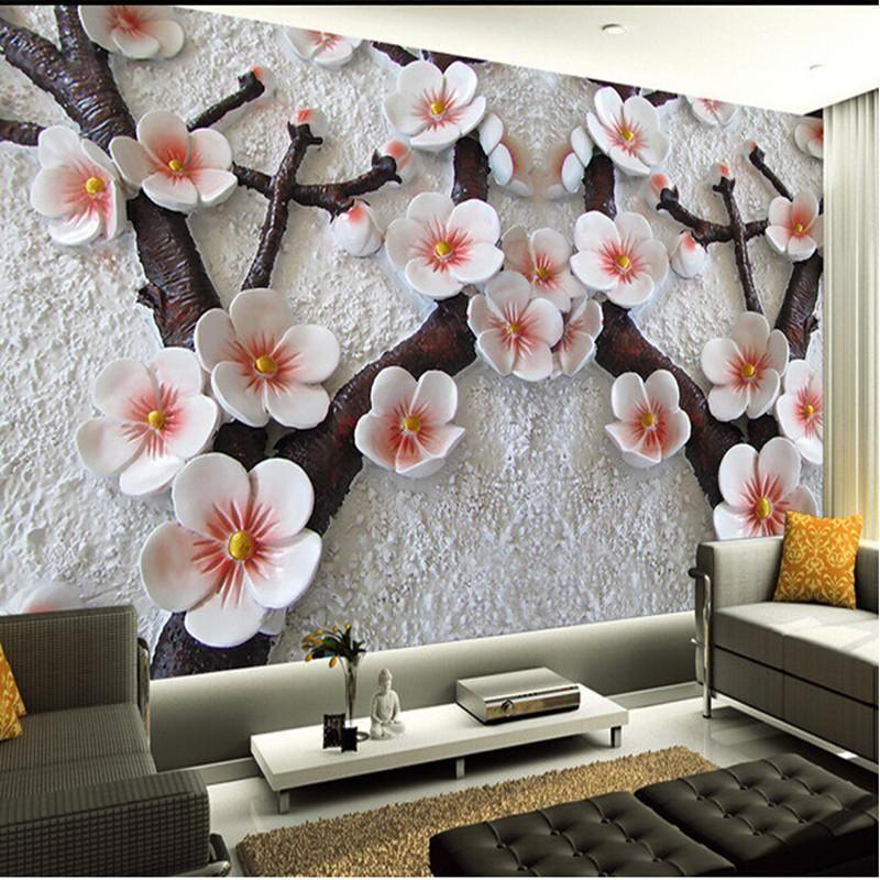 Custom Wall Mural Modern Art Painting High Quality Mural Wallpaper 3d Living Room Tv Backdrop Relief Plum Ph Custom Wall Murals Photo Mural Wall Bedroom Murals