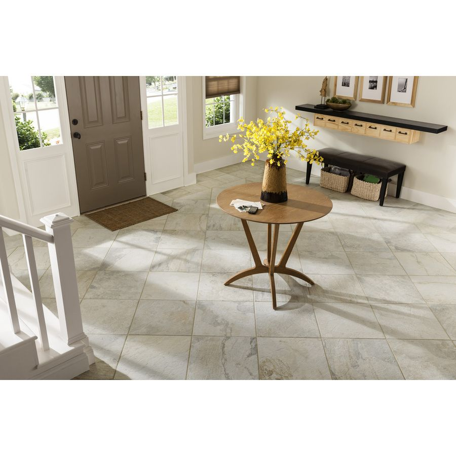 Shop style selections 8 pack ivetta white glazed porcelain floor tile common 18 in x 18 in - Lowes floor tiles porcelain ...