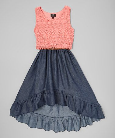 Look what I found on #zulily! Coral & Navy Hi-Low Dress - Infant & Toddler #zulilyfinds